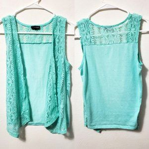 Jordache Girls Light Green Lace Cardigan